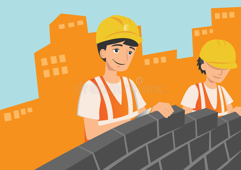 Pracownicy budowlani ilustracji