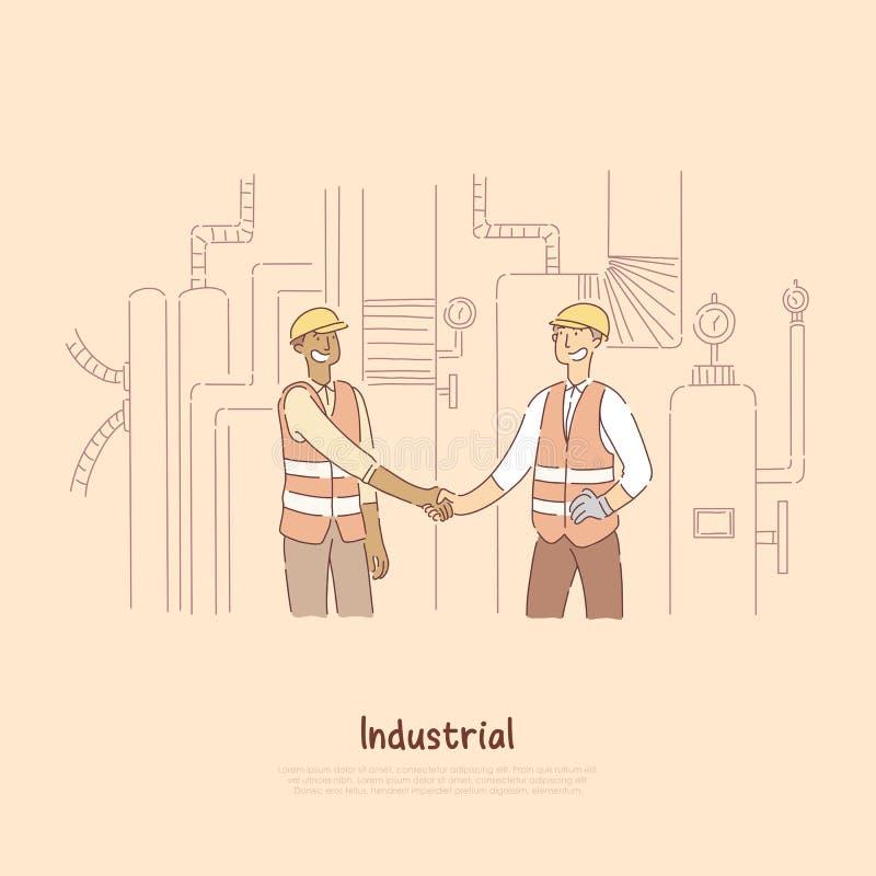 Pracownicy fabryczni trząść ręki, inżyniery, koledzy, partnery z hardhats, bezpieczeństwo przekazują z odbijającymi lampasami ilustracja wektor