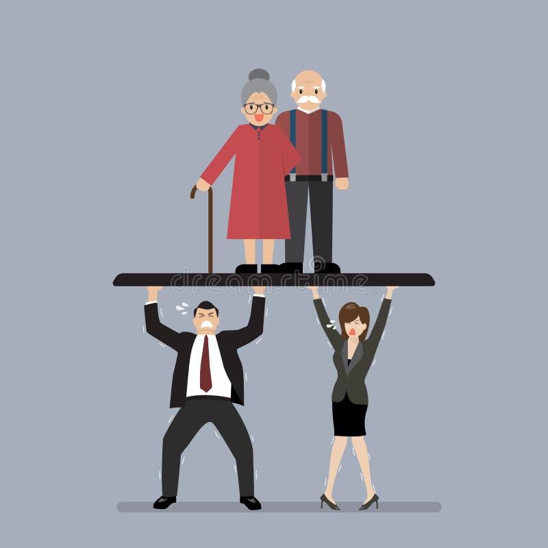 Pracownicy niosą emerytów ilustracja wektor