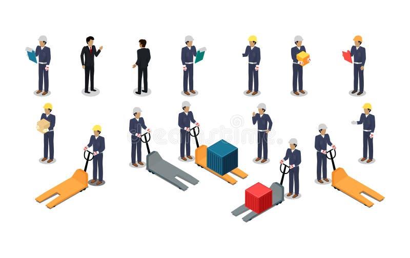 Pracownicy Pocztowy Lub Składujący Firma w Isometric ilustracja wektor