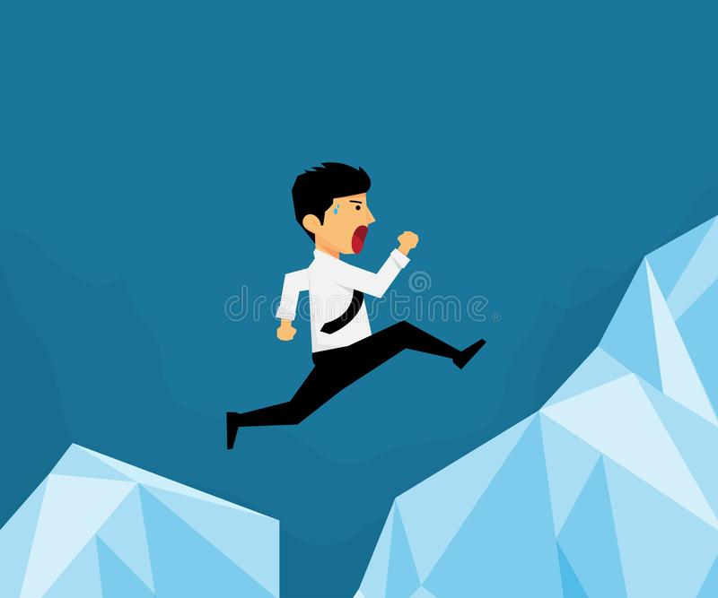 Pracownicy skaczą nad górą inna góra, royalty ilustracja