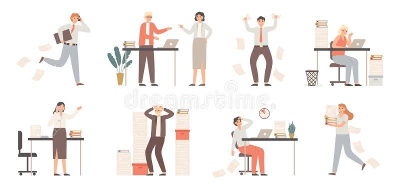 Pracownicy stresowi Pracownicy biurowi, wściekły szef w panice i chaosie pracy Wektor warunków skrajnych w terminie niepowodzenia ilustracja wektor