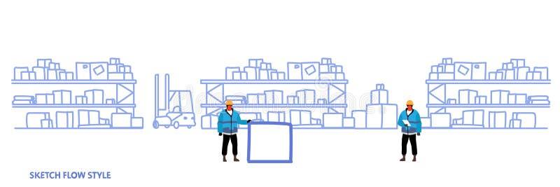Pracownicy w jednolitych składowych logistycznie doręczeniowej usługi pojęcia półkach z kartonu magazynowym wewnętrznym nakreślen ilustracji