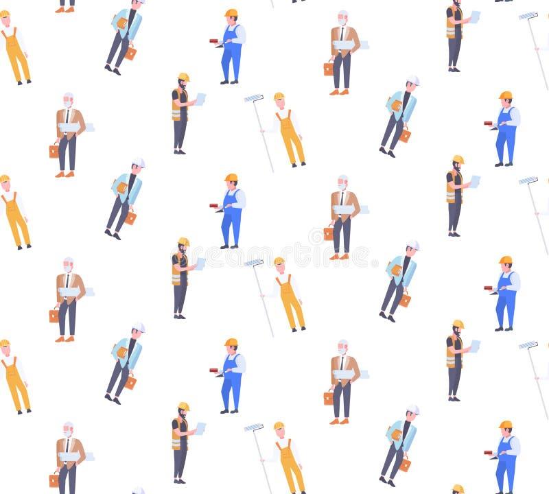 Pracowników budowlanych techników mężczyzn różnych przemysłowych budowniczych bezszwowe deseniowe męskie postacie z kreskówki fol ilustracja wektor