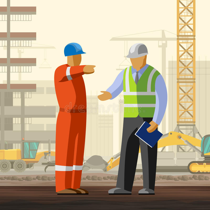 Pracownik budowlany i kierownik przy miejscem royalty ilustracja