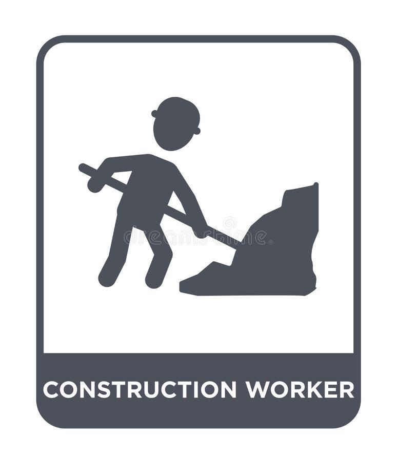 pracownik budowlany ikona w modnym projekta stylu Pracownik budowlany ikona odizolowywająca na białym tle Pracownika budowlanego  ilustracji