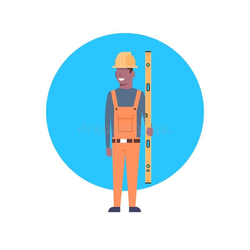 Pracownik Budowlany ikony amerykanina afrykańskiego pochodzenia budowniczego mężczyzna royalty ilustracja