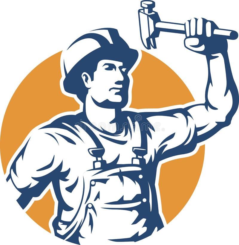 Pracownik budowlany sylwetki wektor ilustracja wektor