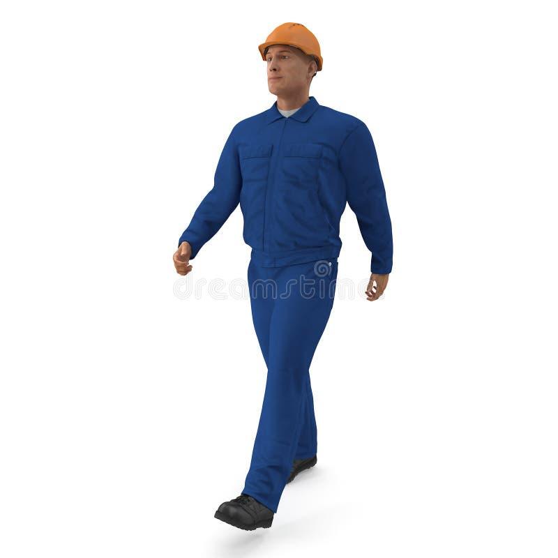 Pracownik Budowlany W Błękitnym Coverall z Hardhat pozyci pozą 3D ilustracja, odizolowywająca, na bielu ilustracji