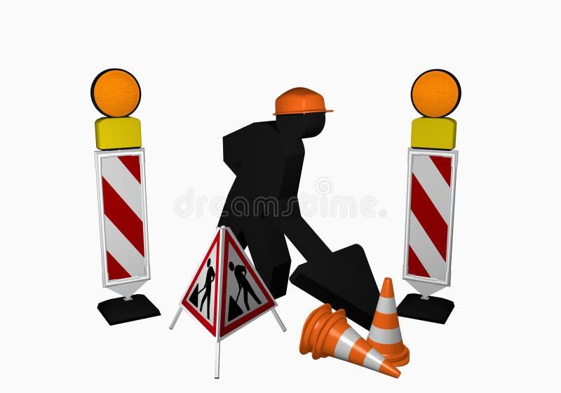 Pracownik budowlany z przewdonik batutą, ruchu drogowego rożkiem i installer, ilustracja wektor