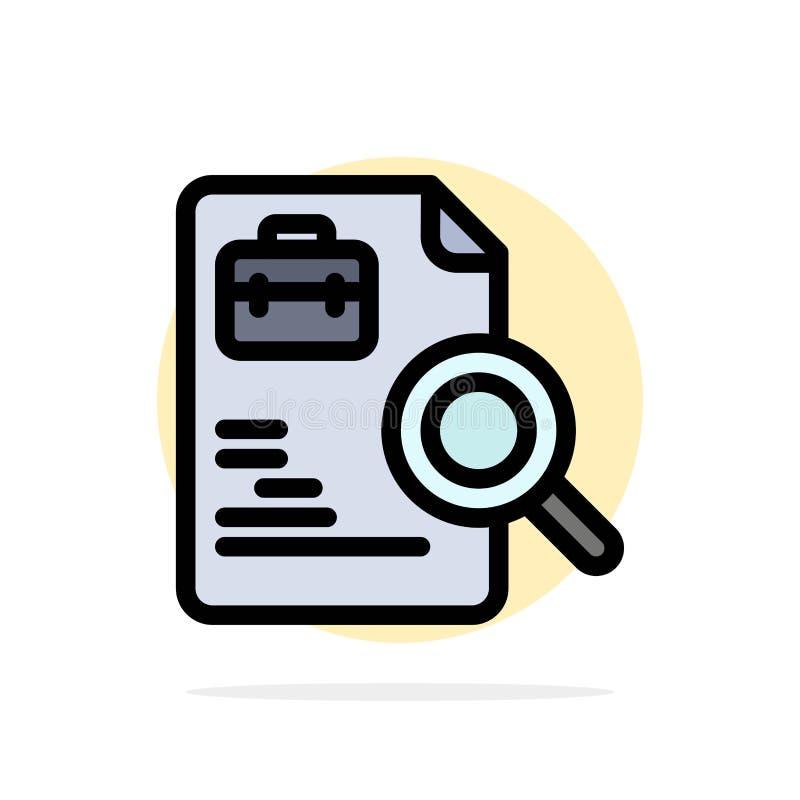 Pracownik, dokument, rewizja, praca okręgu Abstrakcjonistycznego tła koloru Płaska ikona ilustracja wektor
