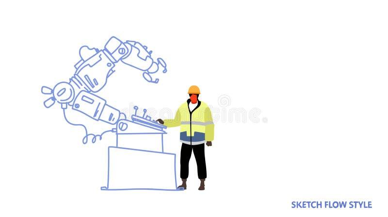 Pracownik fabryczny w jednolitym in?ynierze kontroluje robot r?ki dzia?ania procesu przemys?u wytw?rczego mechanicznego konwejer ilustracji
