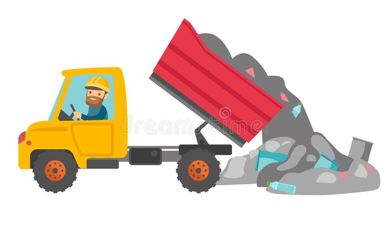 Pracownik i buldożer przy banialuka usypem ilustracji
