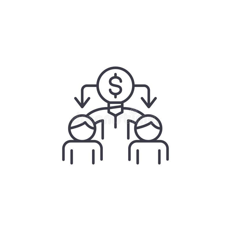 Pracownik ikony liniowy pojęcie Pracownicy wykładają wektoru znaka, symbol, ilustracja royalty ilustracja