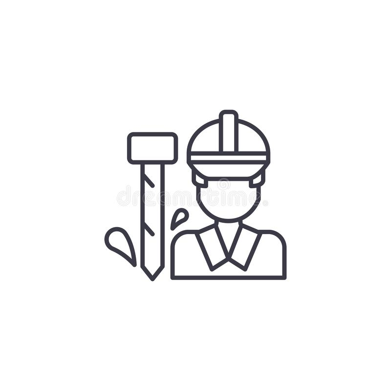 Pracownik ikony liniowy pojęcie Pracownika wektoru kreskowy znak, symbol, ilustracja ilustracji