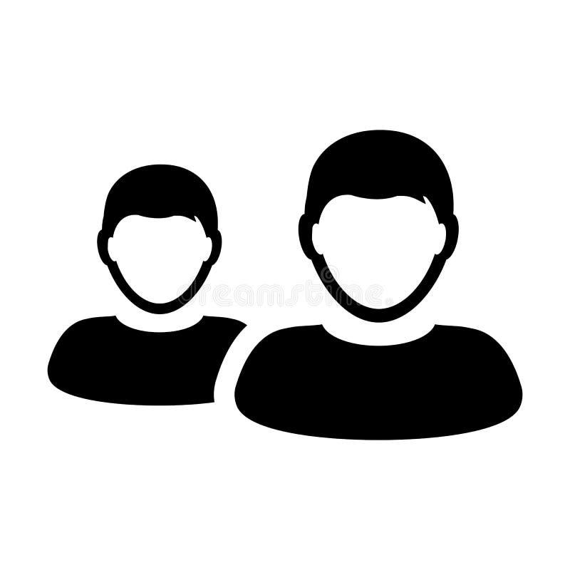 Pracownik ikony samiec wektorowa grupa persons symbolu avatar dla zarządzanie przedsiębiorstwem drużyny w płaskim koloru glifu pi ilustracji