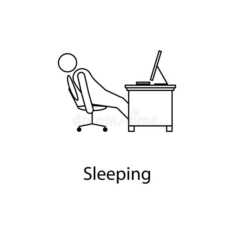 pracownik jest sypialnym ikoną Elementu mężczyzna przed komputerem w miejscu pracy dla mobilnych pojęcia i sieci apps Cienieje kr ilustracji