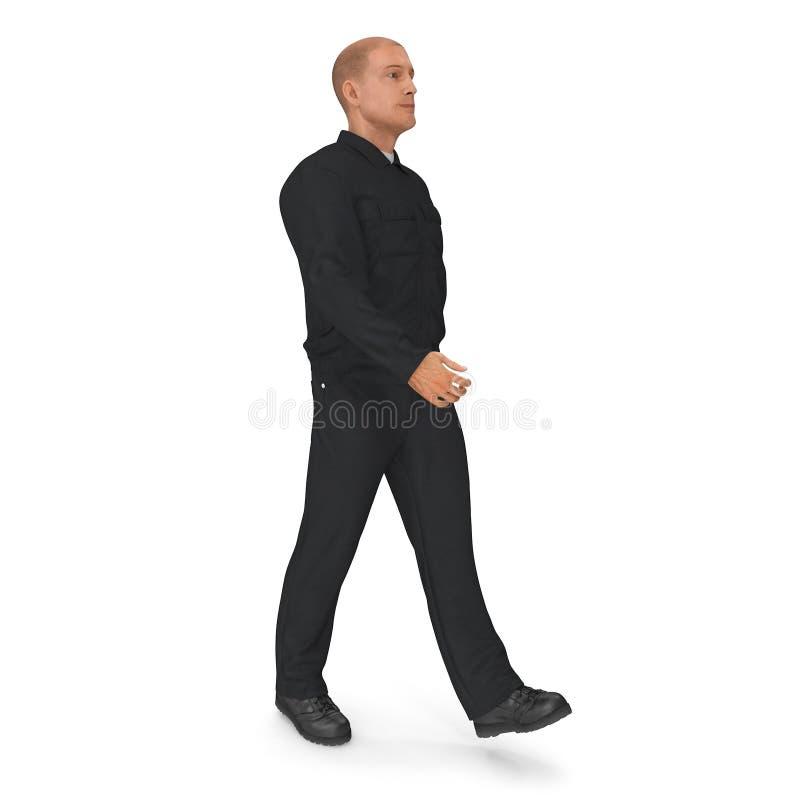 Pracownik Jest ubranym Czarnych kombinezony Chodzi pozę 3d ilustracja, odizolowywająca ilustracji