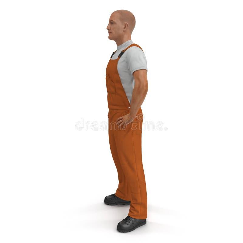 Pracownik Jest ubranym Pomarańczową kombinezonu kostiumu pozycji pozę 3d ilustracja, odizolowywająca ilustracja wektor