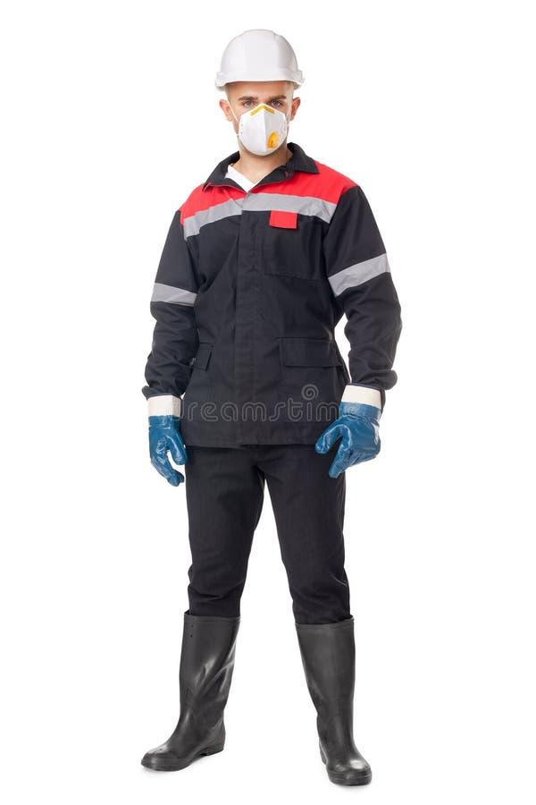 Pracownik jest ubranym zbawczą ochronną przekładnię zdjęcie stock