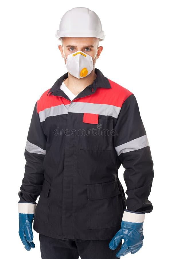 Pracownik jest ubranym zbawczego ochronnego gea fotografia stock