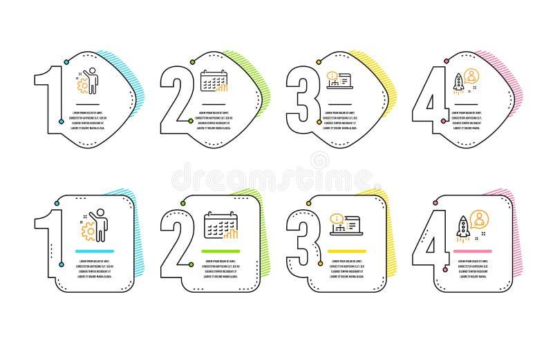 Pracownik, Kalendarzowy wykres i Online dokumentacji ikony ustawiający, Rozpoczęcie znak wektor ilustracji