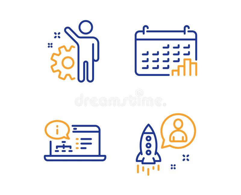 Pracownik, Kalendarzowy wykres i Online dokumentacji ikony ustawiaj?cy, Rozpocz?cie znak wektor ilustracji