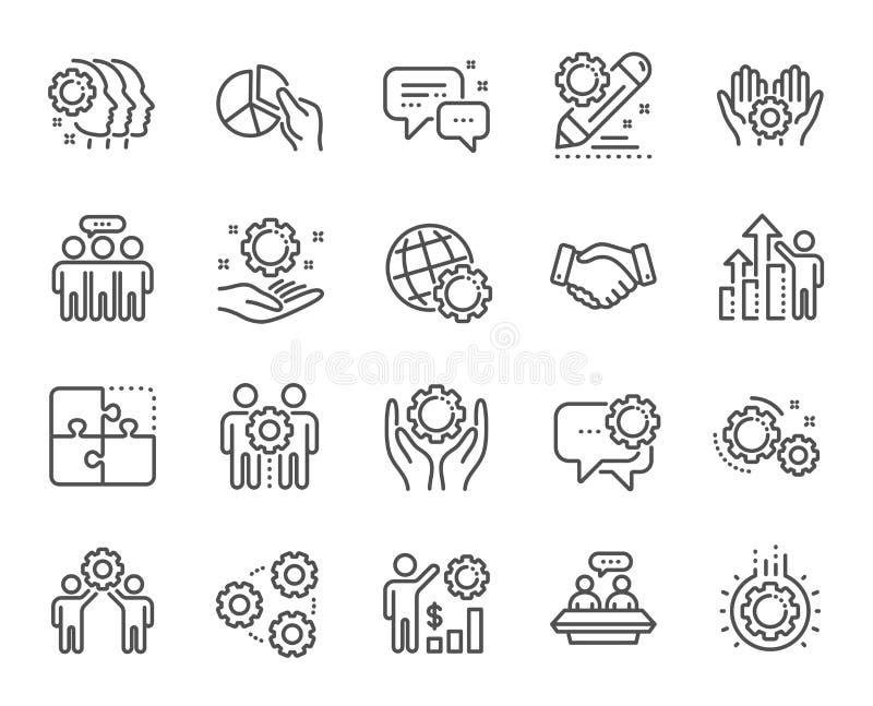 Pracownik korzyści kreskowe ikony Strategia biznesowa, uścisk dłoni i współpraca, wektor ilustracji