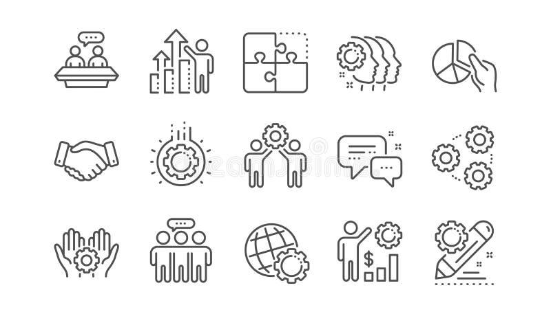 Pracownik korzy?ci kreskowe ikony Strategia biznesowa, u?cisk d?oni i wsp??praca, Liniowy set wektor ilustracja wektor