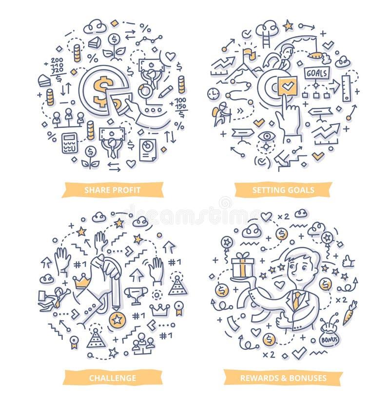 Pracownik motywaci Doodle pojęcia ilustracji