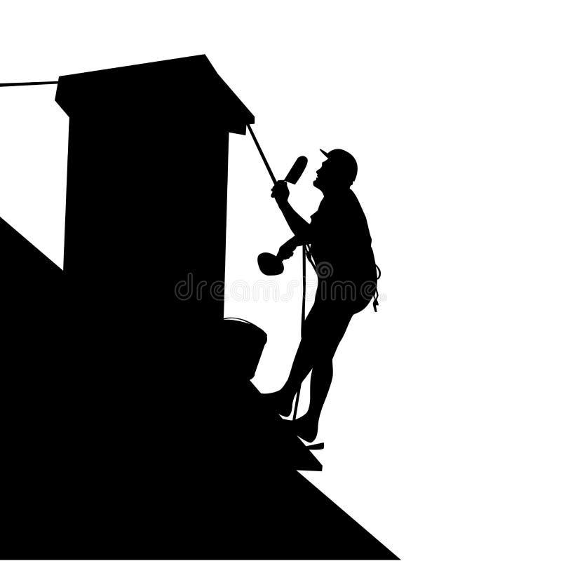 Pracownik na domowym dachu ilustracja wektor