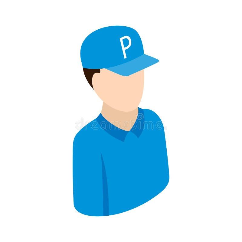 Pracownik na parking ikonie, isometric 3d styl ilustracji