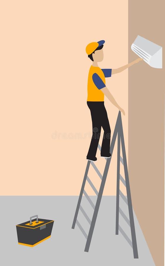 Pracownik naprawia lotniczego conditioner w pokoju ilustracja wektor