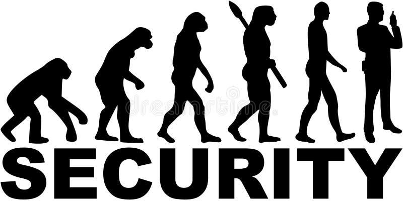 Pracownik ochrony ewolucja z stanowiskiem ilustracji