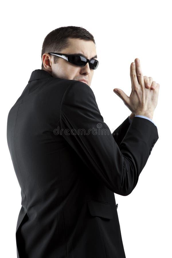 Pracownik ochrony odizolowywający na bielu fotografia stock