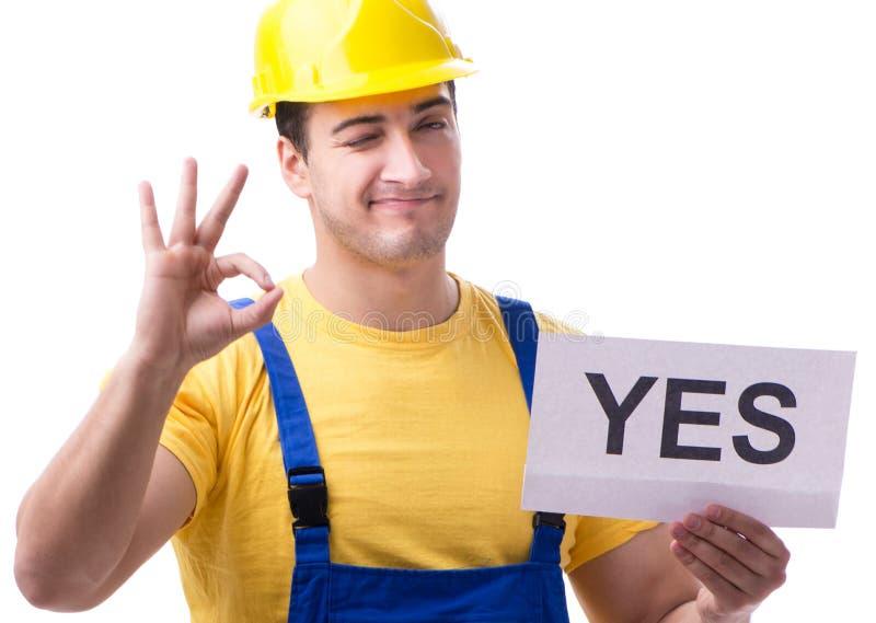 Pracownik odpowiada pozytywnie tak odizolowywaj?cy na bielu obrazy stock