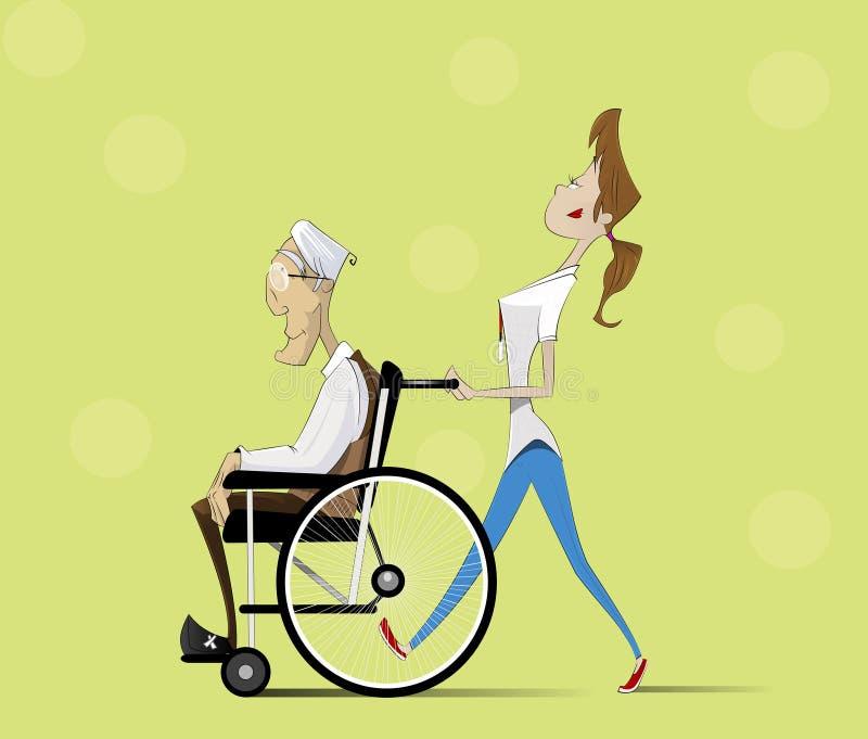 Pracownik opieki społecznej i stary mężczyzna w wózku inwalidzkim ilustracji
