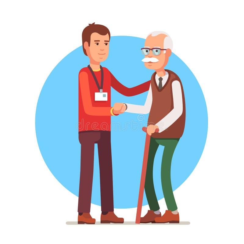 Pracownik opieki społecznej starszej osoby pomaga popielaty z włosami mężczyzna ilustracji