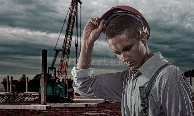 Pracownik przy budową zdjęcie stock