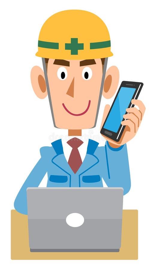 Pracownik przy budową która działa peceta podczas gdy opowiadający z telefonem komórkowym royalty ilustracja