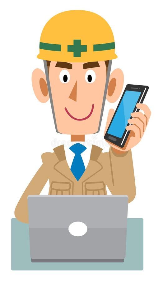 Pracownik przy budową która działa peceta podczas gdy opowiadający z telefonem komórkowym ilustracja wektor