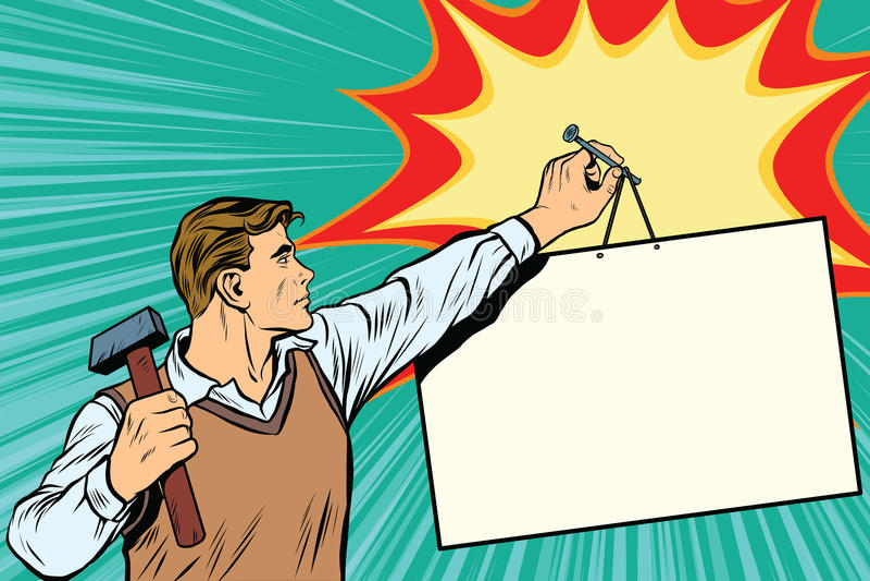 Pracownik przybija plakat ściana ilustracji