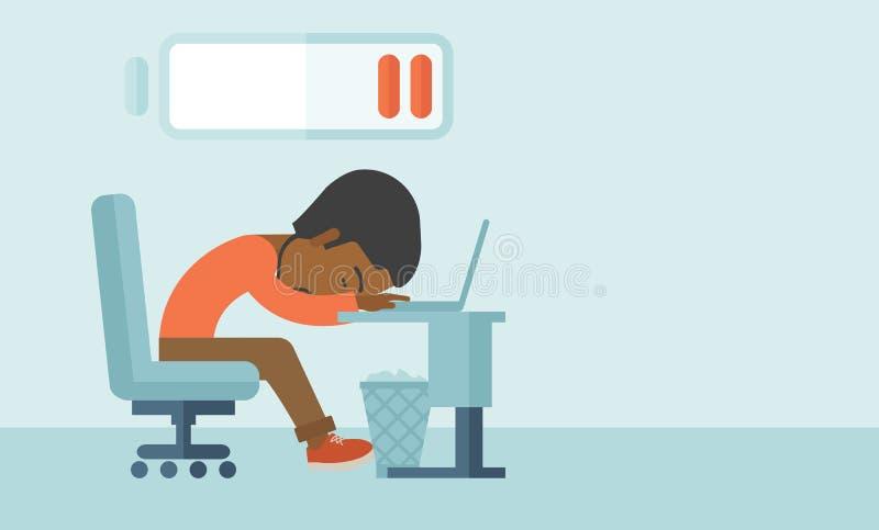 Pracownik spada uśpiony przy jego biurkiem ilustracja wektor
