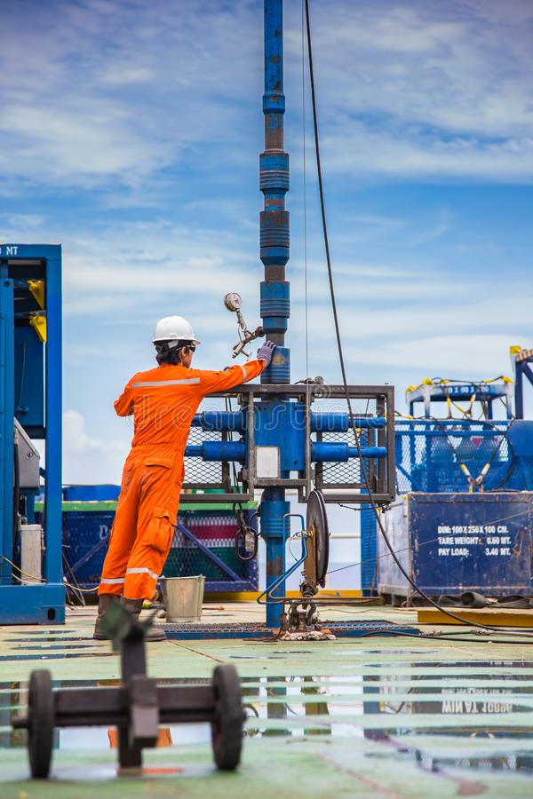 Pracownik sprawdza najpierw i utworzenia dziurkowanie produkci ropa i gaz well odgórnej strony narzędzia dla zbawczego obraz royalty free