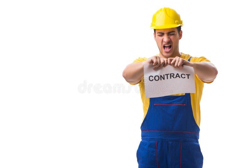 Pracownik szczęśliwy z jego zatrudnieniowym kontraktem obrazy royalty free