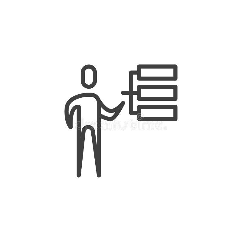Pracownik umiejętności kreskowa ikona ilustracja wektor