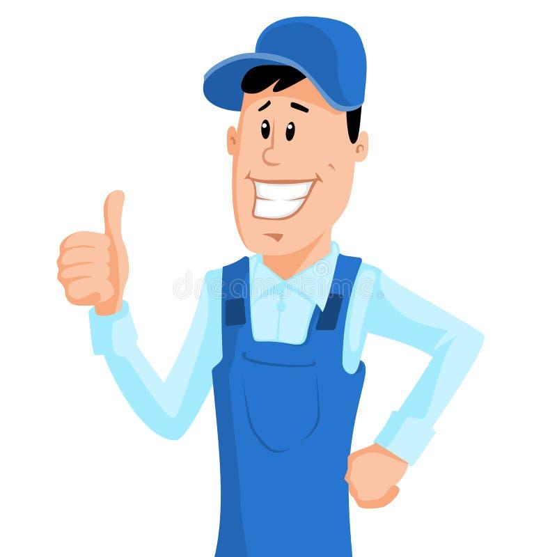 Pracownik w błękitnym workwear przedstawienia kciuku up royalty ilustracja