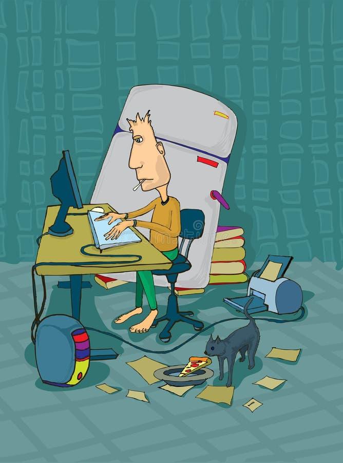 pracownik w domu ilustracji