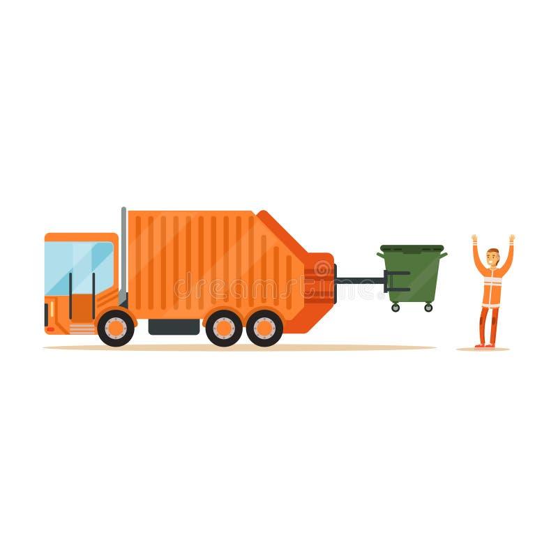 Pracownik w pomarańcze munduru ładowaniu przetwarza kosz w śmieciarskiego poborcy ciężarówkę ilustracja wektor