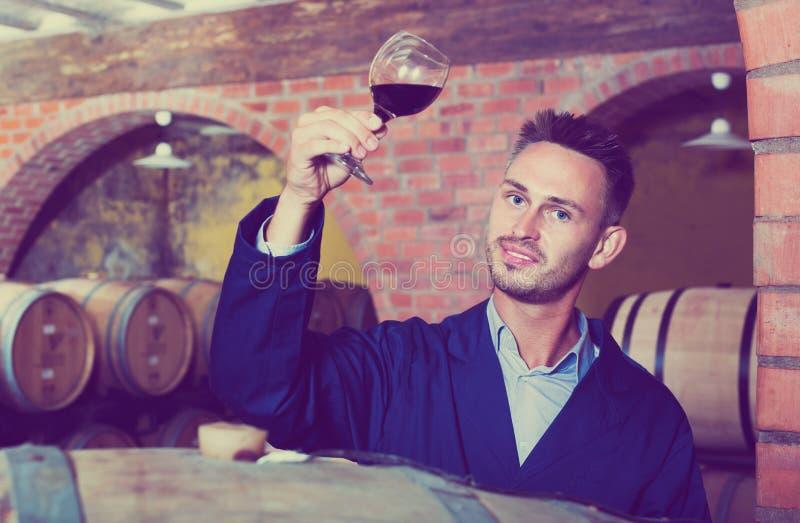 Pracownik w wino lochu obrazy royalty free